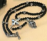 King Baby Rosary Sterling Silver Roses, Maltese Cross, Skull, Blk Onyx Jewelry