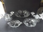 Console Bowl, Relish, Candle Holders Glass Fostoria Crystal Willowmere Rose Etch