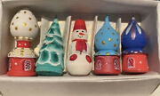 Russian Christmas Ornaments Hand Painted 5 Pieces 2.5andrdquo Tall