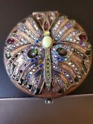 Jay Strongwater Butterfly Mirror Compact Exquisite Enamel And Crystal