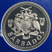 1975 Barbados Staghorn Coral And Fish Vintage Antique Proof 2 Dollars Coin I93932