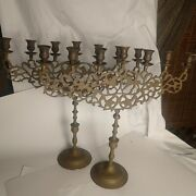 Pair Of Large 7 Arm Menorah With Lions Of Judea brass Candelabra