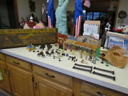 Vintage 1950and039s Marx Tin Lithograph Western Town Complete Set In Original Box