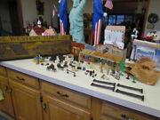Vintage 1950and039s Marx Tin Lithograph Western Town - Nearly Complete Set In Ob
