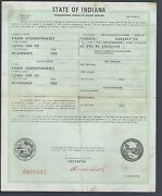 1951 Studebaker R5 1/2 Ton Pick Up Truck Title Indiana Signed Document