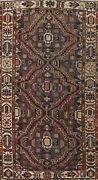 Antique Geometric Tribal Bakhtiari Hand-knotted Runner Rug Wool Oriental 5and039x10and039