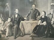 Abraham Lincoln Family Large Engraving 1800's. 22 X 28 Inches