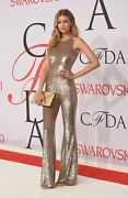 Collection Gold Sequin Mesh Bell Bottom Slvless Jumpsuit 10k Us 4