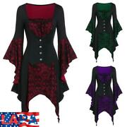 Lapa Women Halloween Costumes Gothic Long Bell Sleeve Lace Up Witch Party Blouse