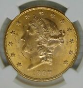 1907 Liberty Head 20 Dollar Gold Double Eagle Ngc Ms 63 Beautiful Coin