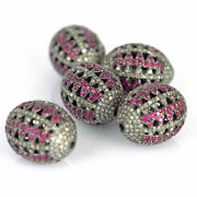 Natural Diamond Ruby Spacer Bead Finding 925 Sterling Silver For Jewelry Making