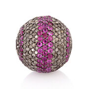 Genuine Diamond Ruby Bead Ball Spacer Finding 925 Sterling Silver Jewelry Making