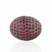 Genuine Ruby Spacer Bead Finding For Jewelry Making 925 Sterling Silver 17x13mm