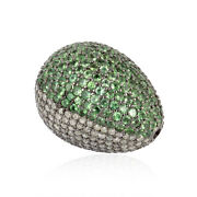 Natural Diamond Tsavorite Spacer Bead For Jewelry Making 925 Sterling Silver