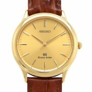 Gs Grand Seiko Sbgs002 Quartz Champagne Dial Yellow Gold Leather 9581-7000 Mens