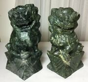 """7"""" Old Pair Of Chinese Hand Carved Green Jade Foo Dog Lion Statues"""