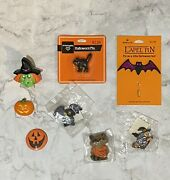 Lot Of 8 Hallmark Pins Halloween Holiday Vintage Witch Bat Pumpkin New And Used