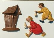 Vintage Arnel's Outhouse Rush Mcm Ceramic Wall Hanging Sleepers Woman Man 1974
