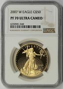 2007-w American Gold Eagle 50 One-ounce 1 Oz Proof Pf 70 Ultra Cameo Ngc