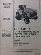 Sears Craftsman Lt 12 Lawn Tractor And 38 Mower Owner And Parts Manual 917.254241
