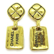 Cc Logos Shaking Earrings Clip-on Gold-tone 2442 Authentic 83517
