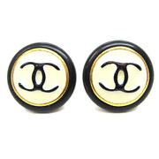 Cc Button Motif Earrings Gold Black Clip-on 96a Accessories 62477