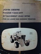 John Deere 110 Lawn Garden Tractor 540 Rpm Pto Attachment Owner And Parts Manual