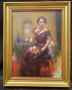 Fine 1960s Italian Impressionist Oil Painting On Panel Of Girl In Dress By Pina