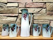 Rare 5pc Set Weller Pottery Etna 14 Ewer /pitcher And 4 6 Tankards/cup C1906