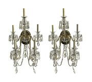 Antique Victorian Clear Glass 5 Arm Wall Sconces