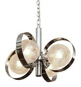 1960s Italian Nickel Plated Fixture With Crackled Glass Shades