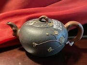 China Chinese Teapot Vintage Brown Black Cherry Plum Blossom Gold Color Design