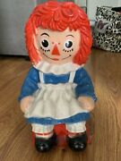 Raggedy Ann Large Plastic Coin Bank Bobbs Merrill My Toy Co 11 1972 Vintage