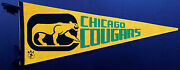 1970's Chicago Cougars Full Size Vintage Wha Hockey Pennant Defunct Team