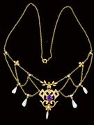 Antique Edwardian 14k Diamond Amethyst And Pearl Necklace Wonderful Condition