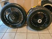 21 And 18 Black Wheel Set 25mm Abs Tires 3 Rotors Harley Touring 09 - 2021