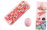 Kbd Mini Wireless 2.4g Usb Keyboard Mouse Set Round Keycap Multicolor Coral