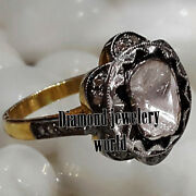Victorian 1.41ct Genuine Old Mine Rose Solitaire Antique Cut Diamond Silver Ring