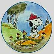 Snoopy And The Beagle Scouts 1984 Vintage Collectors Plate With Frame
