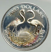 1974 The Bahamas Islands Two Flamingos Vintage Proof Silver 2 Dollar Coin I94618