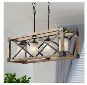 Farmhouse 4-light Wood Dining Room Black Chandelier Frosted Glass Shades