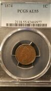 1874 Indian Head Cent Pcgs Au55 Pcgs Population 110 Only 344 Grade Higher