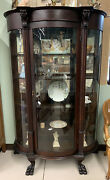 Antique Tiger Oak Curved Curio China Cabinet Ball And Claw Feet. Lion Heads
