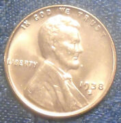 1938 S Wheat Penny Bu Gem Brilliant Uncirculated Red Low 15 Million +high Grade