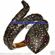 Vintage 4.68cts Rose Cut Diamond Ruby Studded Silver Stunning Snake Ring Jewelry