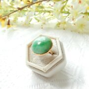 Antique 18ct Gold Jade Cabochon Rosy Gold Ring Us Size 4 1/4