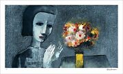 Charles Blackman Girl With Flowers Signed Limited Edition Print 60cm X 107cm