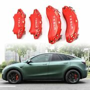 Caliper Covers For Tesla Model Y 19/20in Car Callipers Stainless Steel Red 4pcs