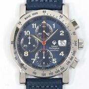 Girard-perregaux Gp7000 Chronograph Automatic Blue Dial Stainless Leather Mens