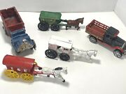 Vintage Cast Iron Toy Lot Of 5. Trucks Milk Us Mail Ice Cart Horse Buggy